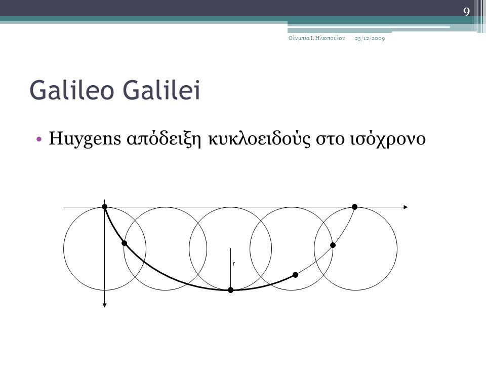 Galileo Galilei Huygens απόδειξη κυκλοειδούς στο ισόχρονο 23/12/2009Ολυμπία Ι. Ηλιοπούλου 9 r
