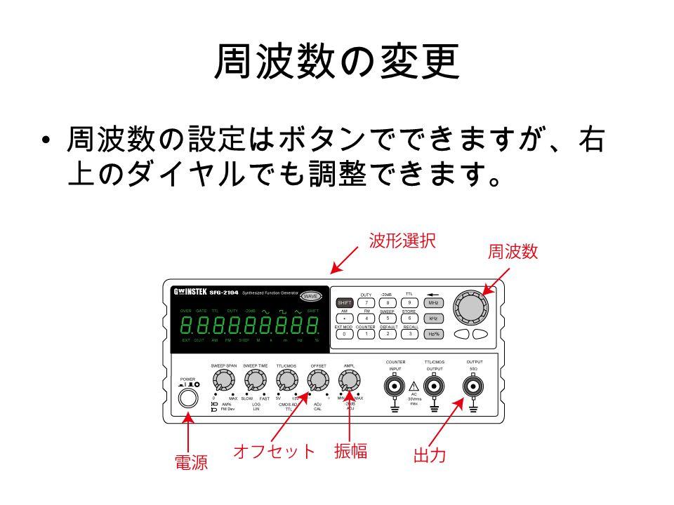 周波数の変更 周波数の設定はボタンでできますが、右 上のダイヤルでも調整できます。