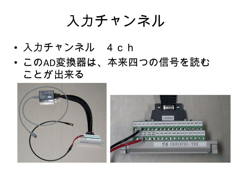 入力チャンネル 入力チャンネル 4ch この AD 変換器は、本来四つの信号を読む ことが出来る