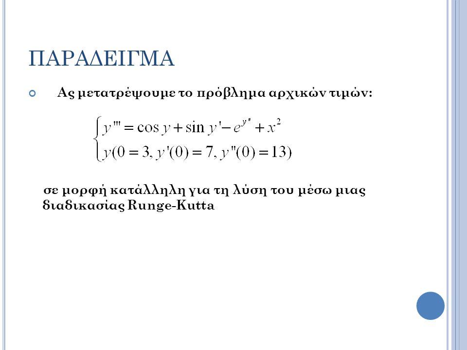ΠΑΡΑΔΕΙΓΜΑ Ας μετατρέψουμε το πρόβλημα αρχικών τιμών: σε μορφή κατάλληλη για τη λύση του μέσω μιας διαδικασίας Runge-Kutta