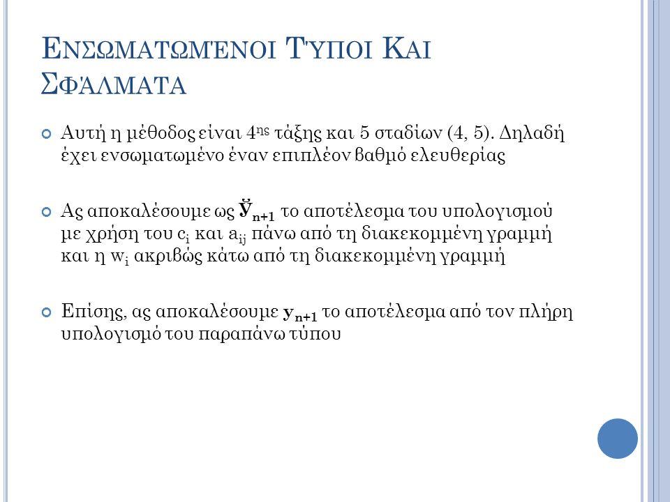 Ε ΝΣΩΜΑΤΩΜΈΝΟΙ Τ ΎΠΟΙ Κ ΑΙ Σ ΦΆΛΜΑΤΑ Αυτή η μέθοδος είναι 4 ης τάξης και 5 σταδίων (4, 5).