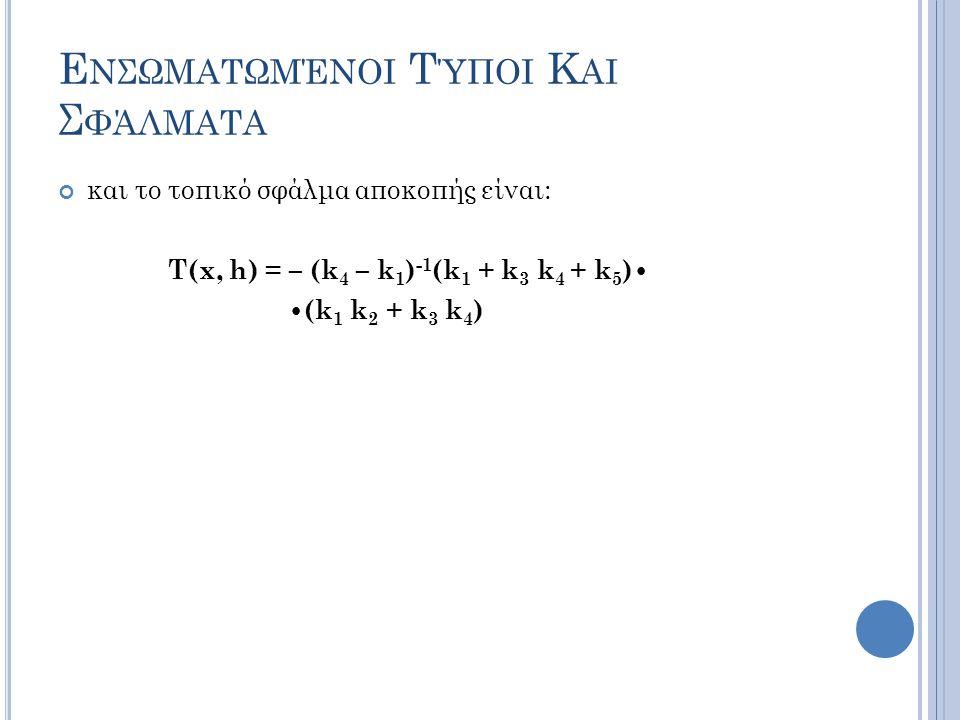 Ε ΝΣΩΜΑΤΩΜΈΝΟΙ Τ ΎΠΟΙ Κ ΑΙ Σ ΦΆΛΜΑΤΑ και το τοπικό σφάλμα αποκοπής είναι: T(x, h) = – (k 4 – k 1 ) -1 (k 1 + k 3 k 4 + k 5 ) (k 1 k 2 + k 3 k 4 )