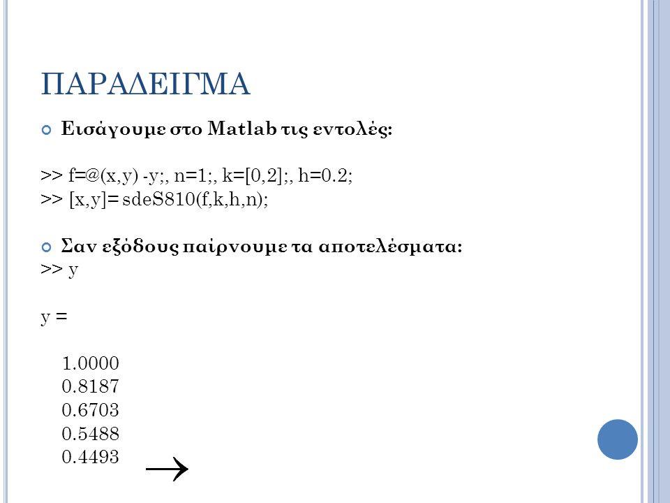 ΠΑΡΑΔΕΙΓΜΑ Εισάγουμε στο Matlab τις εντολές: >> f=@(x,y) -y;, n=1;, k=[0,2];, h=0.2; >> [x,y]= sdeS810(f,k,h,n); Σαν εξόδους παίρνουμε τα αποτελέσματα: >> y y = 1.0000 0.8187 0.6703 0.5488 0.4493