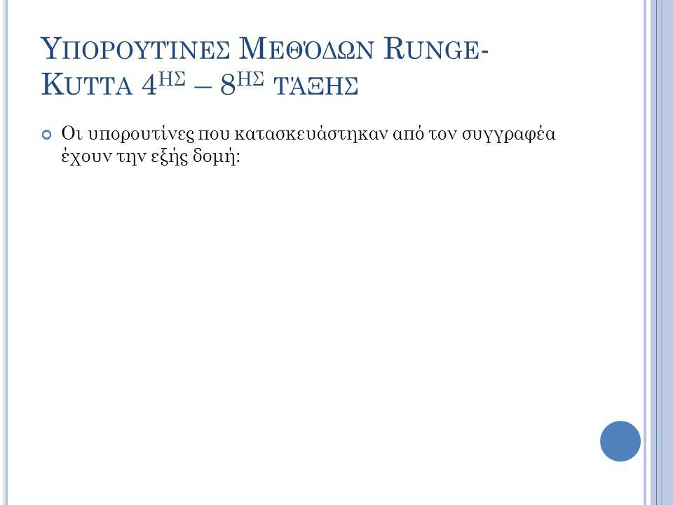 Υ ΠΟΡΟΥΤΊΝΕΣ Μ ΕΘΌΔΩΝ R UNGE - K UTTA 4 ΗΣ – 8 ΗΣ ΤΆΞΗΣ Οι υπορουτίνες που κατασκευάστηκαν από τον συγγραφέα έχουν την εξής δομή: