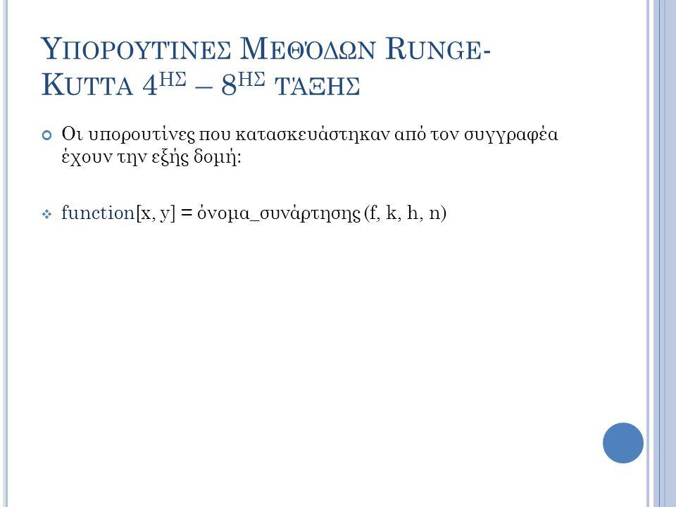 Υ ΠΟΡΟΥΤΊΝΕΣ Μ ΕΘΌΔΩΝ R UNGE - K UTTA 4 ΗΣ – 8 ΗΣ ΤΆΞΗΣ Οι υπορουτίνες που κατασκευάστηκαν από τον συγγραφέα έχουν την εξής δομή:  function[x, y] = όνομα_συνάρτησης (f, k, h, n)