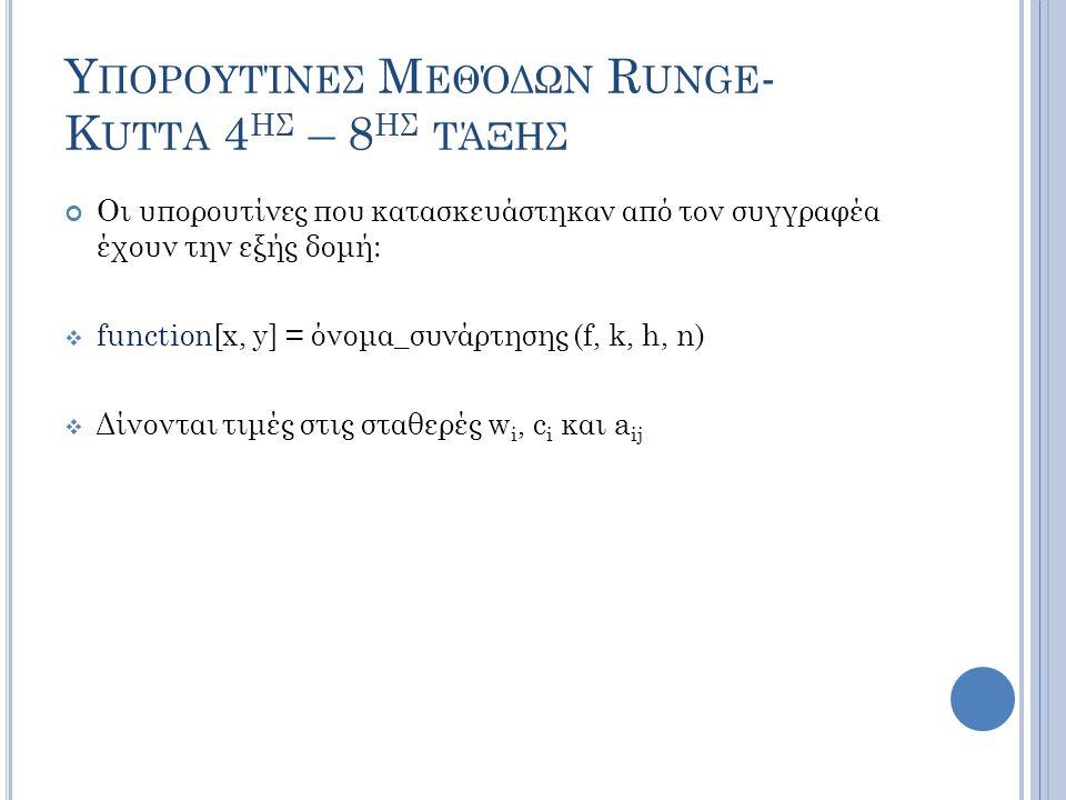 Υ ΠΟΡΟΥΤΊΝΕΣ Μ ΕΘΌΔΩΝ R UNGE - K UTTA 4 ΗΣ – 8 ΗΣ ΤΆΞΗΣ Οι υπορουτίνες που κατασκευάστηκαν από τον συγγραφέα έχουν την εξής δομή:  function[x, y] = όνομα_συνάρτησης (f, k, h, n)  Δίνονται τιμές στις σταθερές w i, c i και a ij