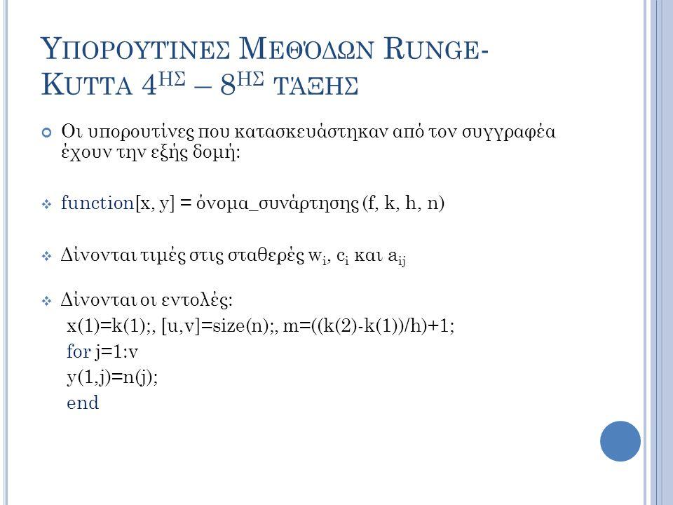 Υ ΠΟΡΟΥΤΊΝΕΣ Μ ΕΘΌΔΩΝ R UNGE - K UTTA 4 ΗΣ – 8 ΗΣ ΤΆΞΗΣ Οι υπορουτίνες που κατασκευάστηκαν από τον συγγραφέα έχουν την εξής δομή:  function[x, y] = όνομα_συνάρτησης (f, k, h, n)  Δίνονται τιμές στις σταθερές w i, c i και a ij  Δίνονται οι εντολές: x(1)=k(1);, [u,v]=size(n);, m=((k(2)-k(1))/h)+1; for j=1:v y(1,j)=n(j); end