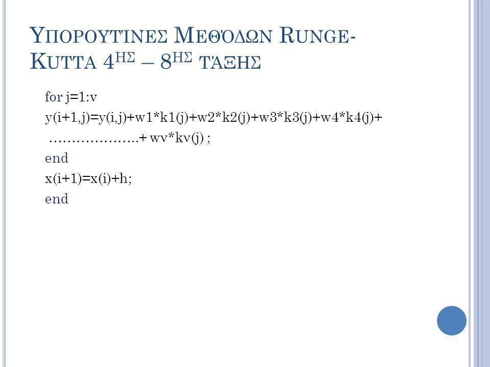 Υ ΠΟΡΟΥΤΊΝΕΣ Μ ΕΘΌΔΩΝ R UNGE - K UTTA 4 ΗΣ – 8 ΗΣ ΤΆΞΗΣ for j=1:v y(i+1,j)=y(i,j)+w1*k1(j)+w2*k2(j)+w3*k3(j)+w4*k4(j)+ ………………..+ wν*kν(j) ; end x(i+1)=x(i)+h; end