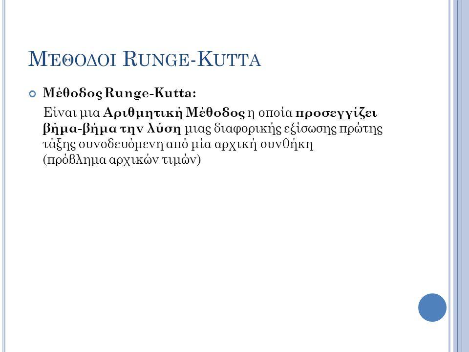 Μέθοδος Runge-Kutta: Είναι μια Αριθμητική Μέθοδος η οποία προσεγγίζει βήμα-βήμα την λύση μιας διαφορικής εξίσωσης πρώτης τάξης συνοδευόμενη από μία αρχική συνθήκη (πρόβλημα αρχικών τιμών)