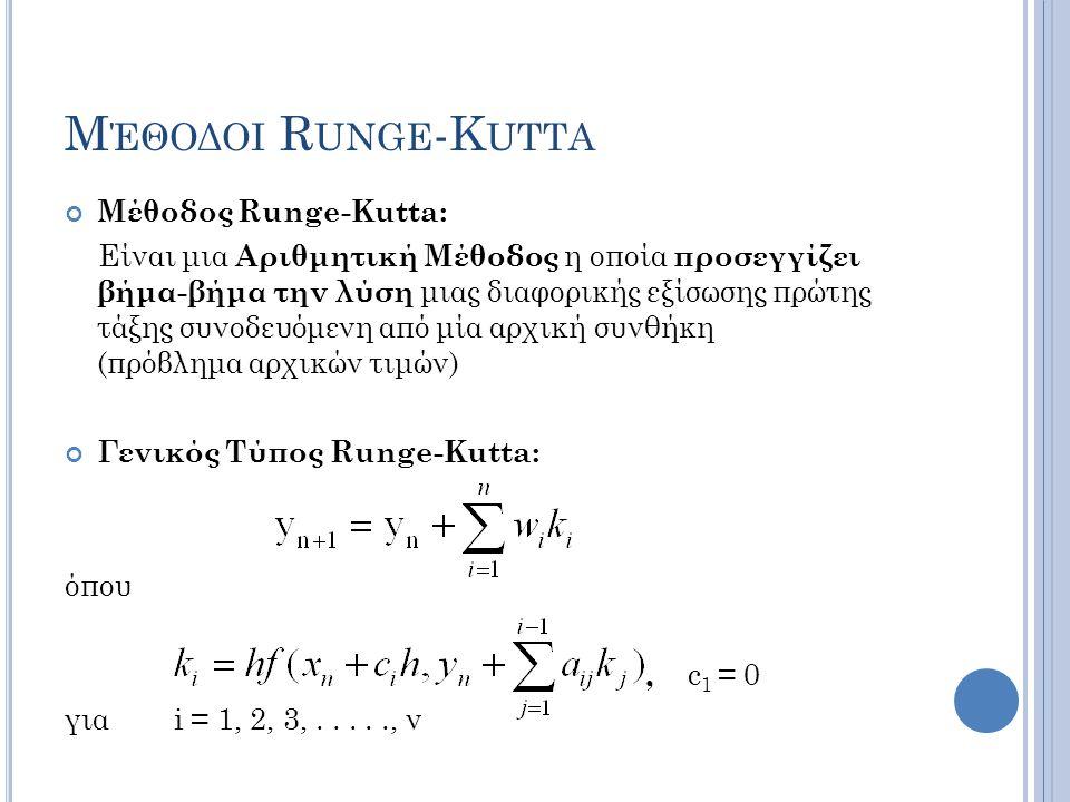 Μ ΈΘΟΔΟΙ R UNGE -K UTTA Μέθοδος Runge-Kutta: Είναι μια Αριθμητική Μέθοδος η οποία προσεγγίζει βήμα-βήμα την λύση μιας διαφορικής εξίσωσης πρώτης τάξης συνοδευόμενη από μία αρχική συνθήκη (πρόβλημα αρχικών τιμών) Γενικός Τύπος Runge-Kutta: όπου, c 1 = 0 για i = 1, 2, 3,....., ν