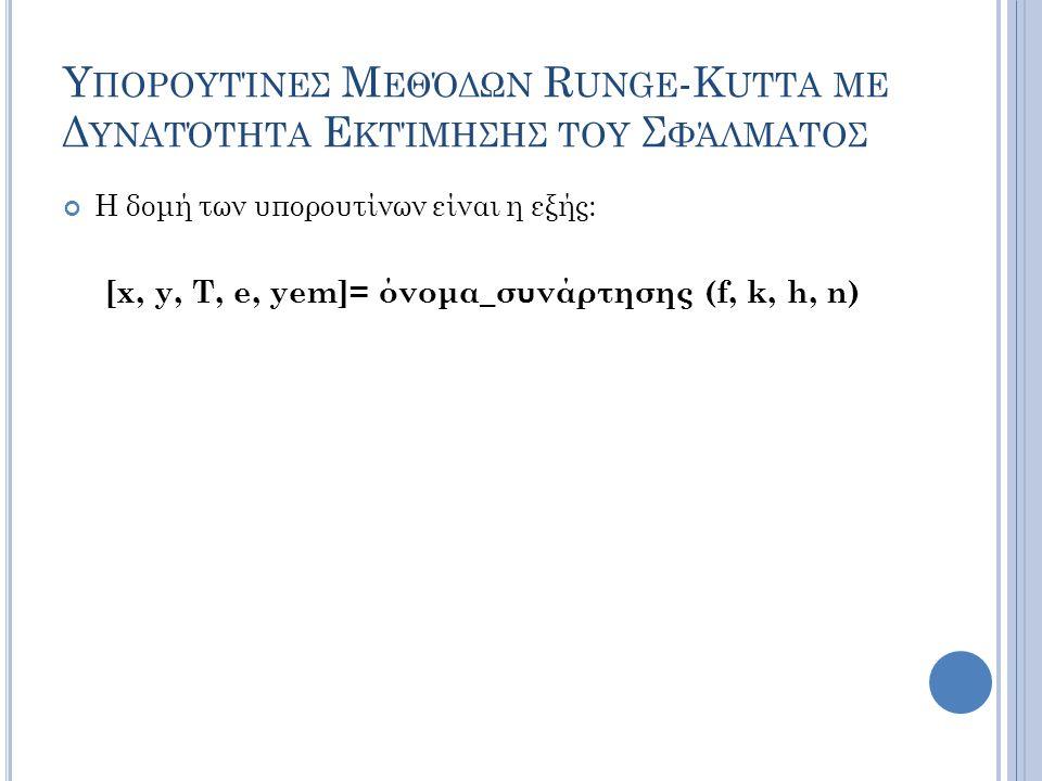 Υ ΠΟΡΟΥΤΊΝΕΣ Μ ΕΘΌΔΩΝ R UNGE -K UTTA ΜΕ Δ ΥΝΑΤΌΤΗΤΑ Ε ΚΤΊΜΗΣΗΣ ΤΟΥ Σ ΦΆΛΜΑΤΟΣ Η δομή των υπορουτίνων είναι η εξής: [x, y, T, e, yem]= όνομα_συνάρτησης (f, k, h, n)