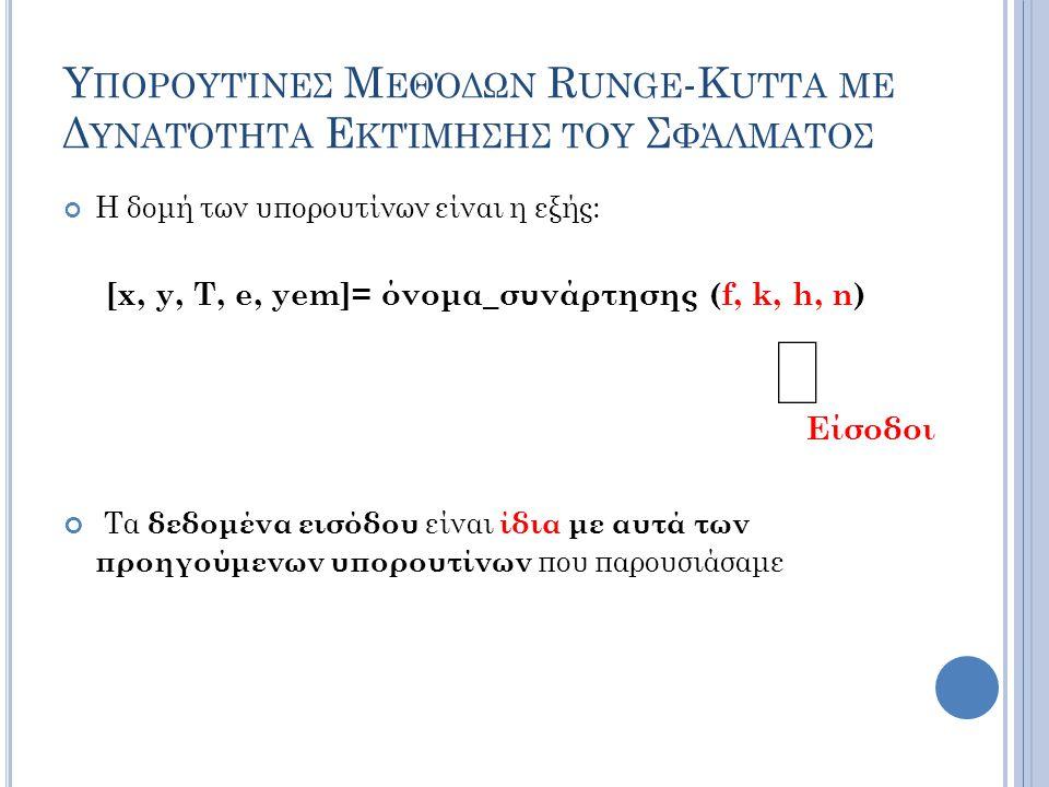 Υ ΠΟΡΟΥΤΊΝΕΣ Μ ΕΘΌΔΩΝ R UNGE -K UTTA ΜΕ Δ ΥΝΑΤΌΤΗΤΑ Ε ΚΤΊΜΗΣΗΣ ΤΟΥ Σ ΦΆΛΜΑΤΟΣ Η δομή των υπορουτίνων είναι η εξής: [x, y, T, e, yem]= όνομα_συνάρτησης (f, k, h, n) Είσοδοι Τα δεδομένα εισόδου είναι ίδια με αυτά των προηγούμενων υπορουτίνων που παρουσιάσαμε