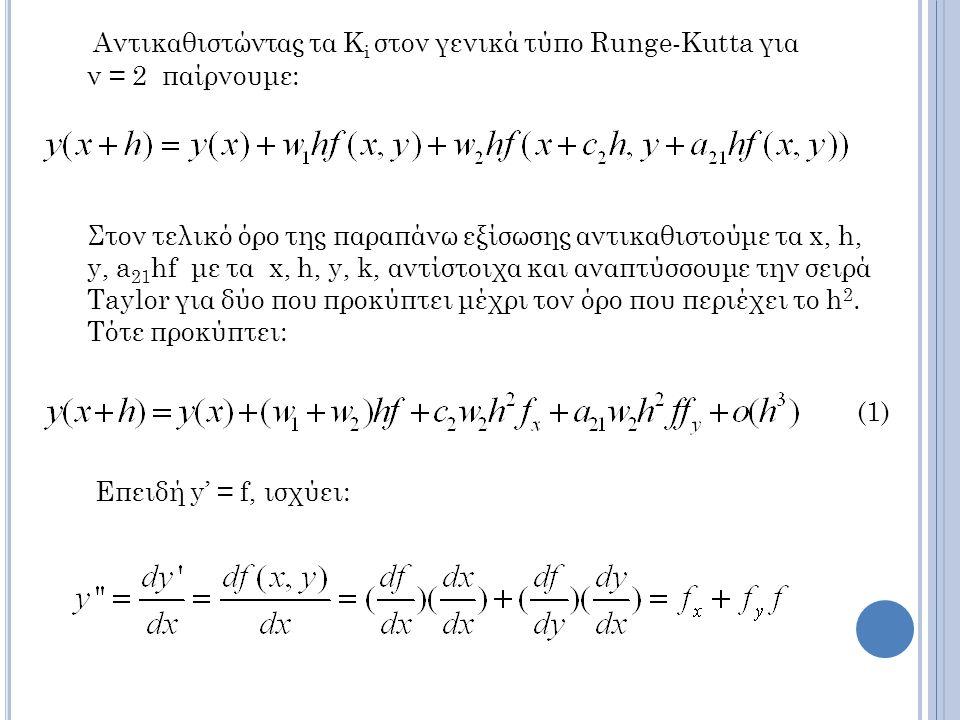 Αντικαθιστώντας τα K i στον γενικά τύπο Runge-Kutta για ν = 2 παίρνουμε: Στον τελικό όρο της παραπάνω εξίσωσης αντικαθιστούμε τα x, h, y, a 21 hf με τα x, h, y, k, αντίστοιχα και αναπτύσσουμε την σειρά Taylor για δύο που προκύπτει μέχρι τον όρο που περιέχει το h 2.