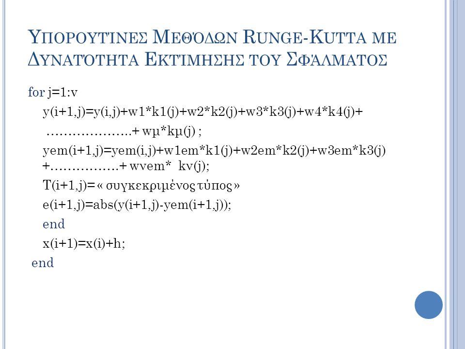 Υ ΠΟΡΟΥΤΊΝΕΣ Μ ΕΘΌΔΩΝ R UNGE -K UTTA ΜΕ Δ ΥΝΑΤΌΤΗΤΑ Ε ΚΤΊΜΗΣΗΣ ΤΟΥ Σ ΦΆΛΜΑΤΟΣ for j=1:v y(i+1,j)=y(i,j)+w1*k1(j)+w2*k2(j)+w3*k3(j)+w4*k4(j)+ ………………..+ wμ*kμ(j) ; yem(i+1,j)=yem(i,j)+w1em*k1(j)+w2em*k2(j)+w3em*k3(j) +…………….+ wνem* kν(j); T(i+1,j)= « συγκεκριμένος τύπος » e(i+1,j)=abs(y(i+1,j)-yem(i+1,j)); end x(i+1)=x(i)+h; end