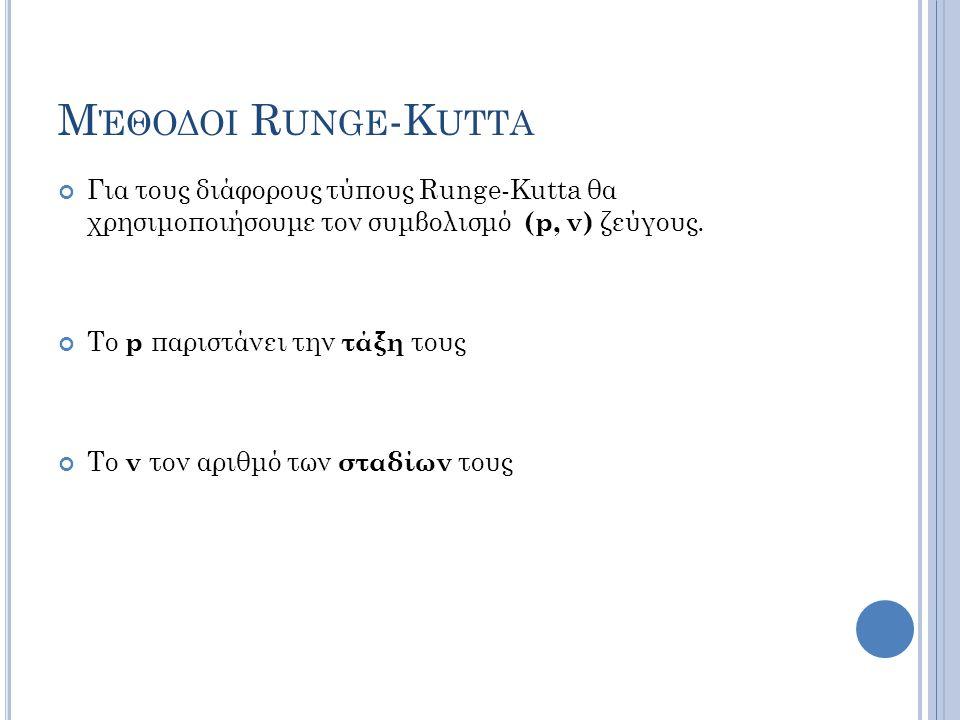 Μ ΈΘΟΔΟΙ R UNGE -K UTTA Για τους διάφορους τύπους Runge-Kutta θα χρησιμοποιήσουμε τον συμβολισμό (p, ν) ζεύγους.