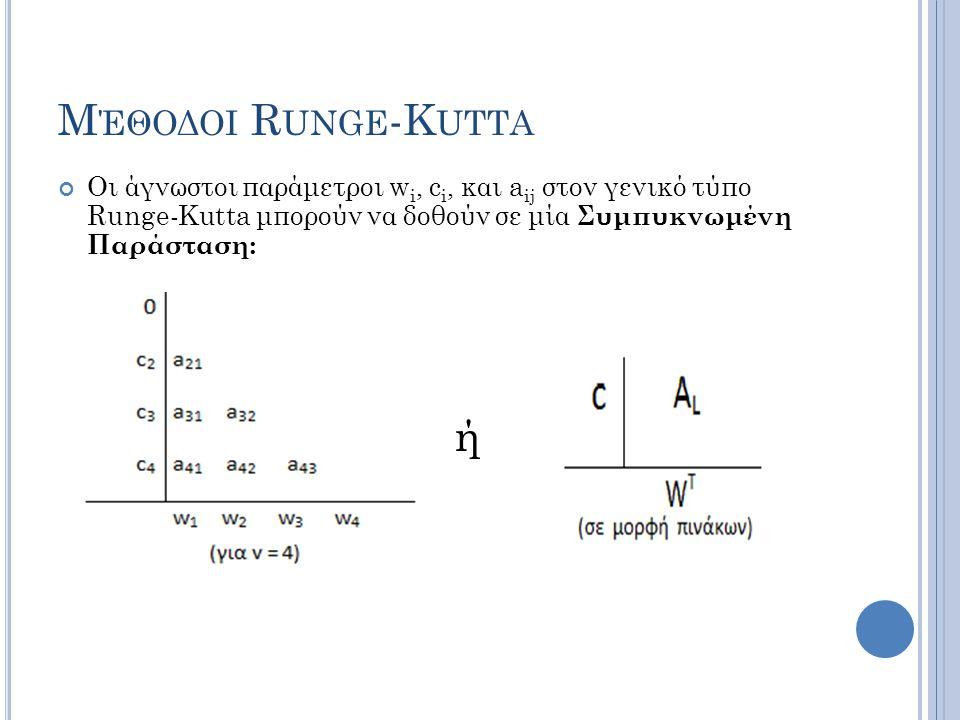 Μ ΈΘΟΔΟΙ R UNGE -K UTTA Οι άγνωστοι παράμετροι w i, c i, και a ij στον γενικό τύπο Runge-Kutta μπορούν να δοθούν σε μία Συμπυκνωμένη Παράσταση: ή