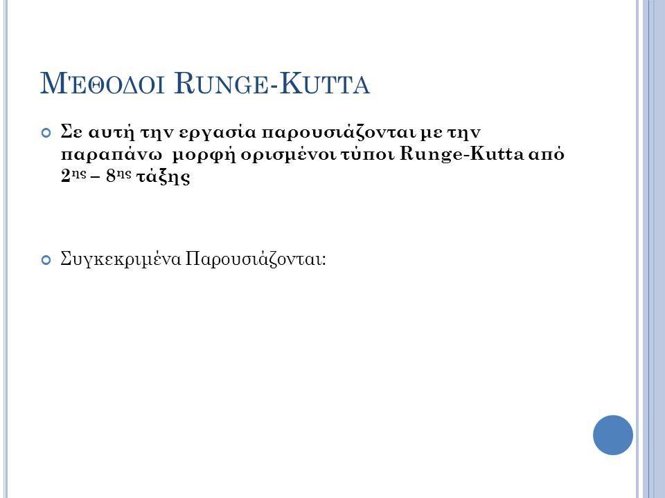 Μ ΈΘΟΔΟΙ R UNGE -K UTTA Σε αυτή την εργασία παρουσιάζονται με την παραπάνω μορφή ορισμένοι τύποι Runge-Kutta από 2 ης – 8 ης τάξης Συγκεκριμένα Παρουσιάζονται:
