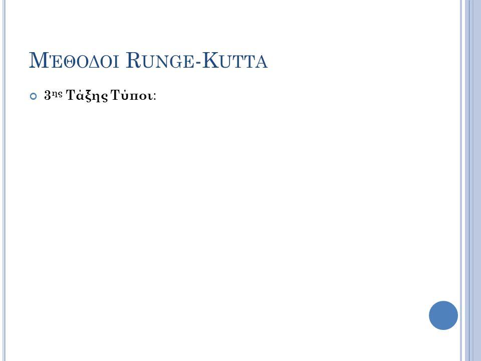 Μ ΈΘΟΔΟΙ R UNGE -K UTTA 3 ης Τάξης Τύποι :