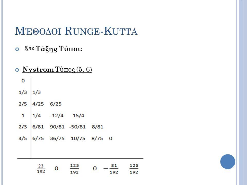 Μ ΈΘΟΔΟΙ R UNGE -K UTTA 5 ης Τάξης Τύποι : Nystrom Τύπος (5, 6)