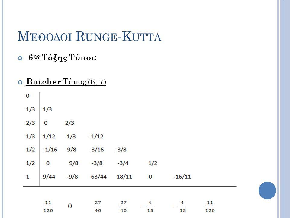 Μ ΈΘΟΔΟΙ R UNGE -K UTTA 6 ης Τάξης Τύποι : Butcher Τύπος (6, 7)