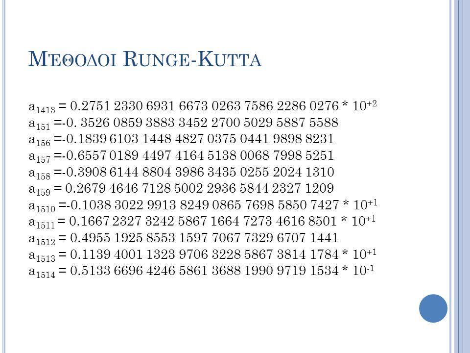 Μ ΈΘΟΔΟΙ R UNGE -K UTTA a 1413 = 0.2751 2330 6931 6673 0263 7586 2286 0276 * 10 +2 a 151 =-0.