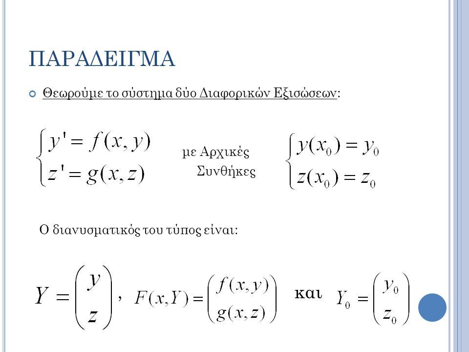 ΠΑΡΑΔΕΙΓΜΑ Θεωρούμε το σύστημα δύο Διαφορικών Εξισώσεων: με Αρχικές Συνθήκες Ο διανυσματικός του τύπος είναι:, και