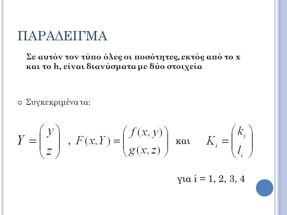 ΠΑΡΑΔΕΙΓΜΑ Σε αυτόν τον τύπο όλες οι ποσότητες, εκτός από το x και το h, είναι διανύσματα με δύο στοιχεία Συγκεκριμένα τα:, και για i = 1, 2, 3, 4