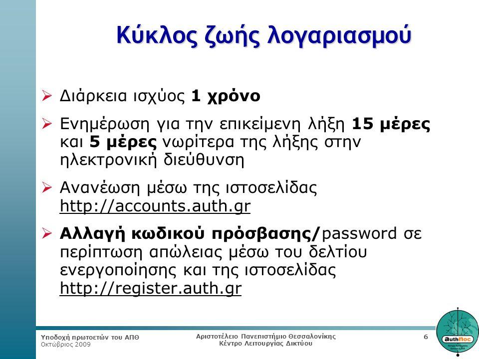 Υποδοχή πρωτοετών του ΑΠΘ Οκτώβριος 2009 Αριστοτέλειο Πανεπιστήμιο Θεσσαλονίκης Κέντρο Λειτουργίας Δικτύου 6 Κύκλος ζωής λογαριασμού  Διάρκεια ισχύος