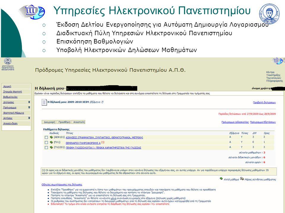 Υπηρεσίες Παραλαβής Λογισμικού Λογισμικό Microsoft Λογισμικό Ανοιχτού Κώδικα για διάφορες χρήσεις Δωρεάν διανομή εμπορικού λογισμικού (πχ SPSS)
