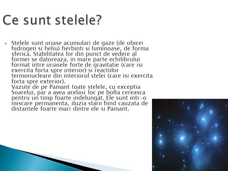 Ce sunt stelele?  Stelele sunt uriase acumulari de gaze (de obicei hidrogen si heliu) fierbinti si luminoase, de forma sferica. Stabilitatea lor din