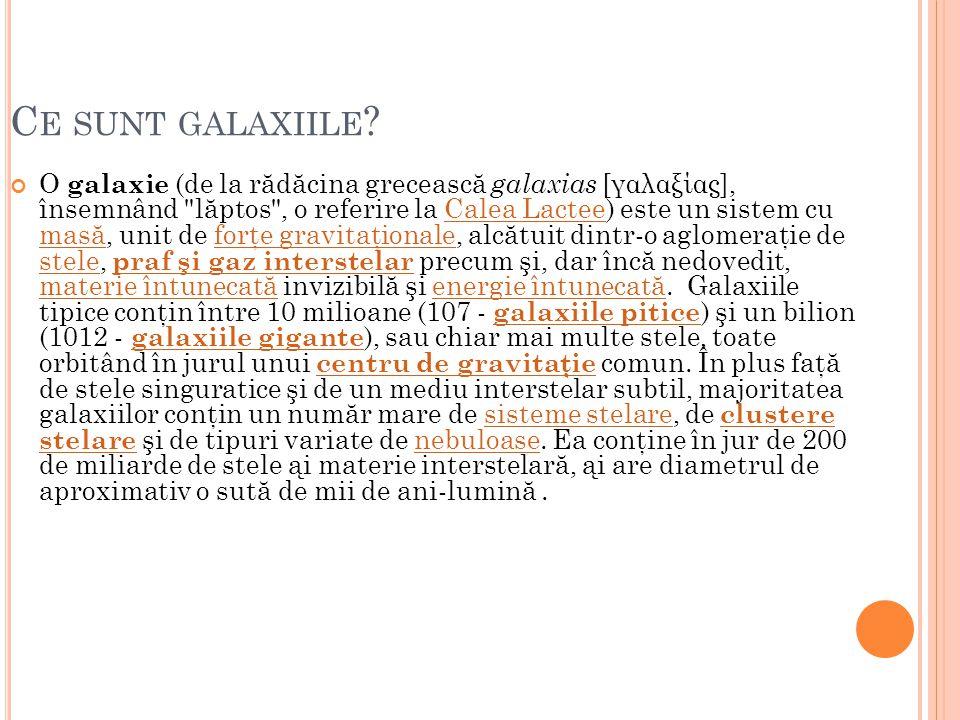 C E SUNT GALAXIILE ? O galaxie (de la r ă d ă cina greceasc ă galaxias [γαλαξίας], însemnând