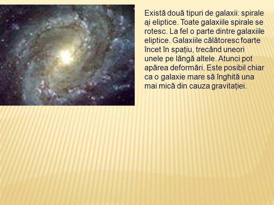 Există două tipuri de galaxii: spirale ąi eliptice. Toate galaxiile spirale se rotesc. La fel o parte dintre galaxiile eliptice. Galaxiile călătoresc