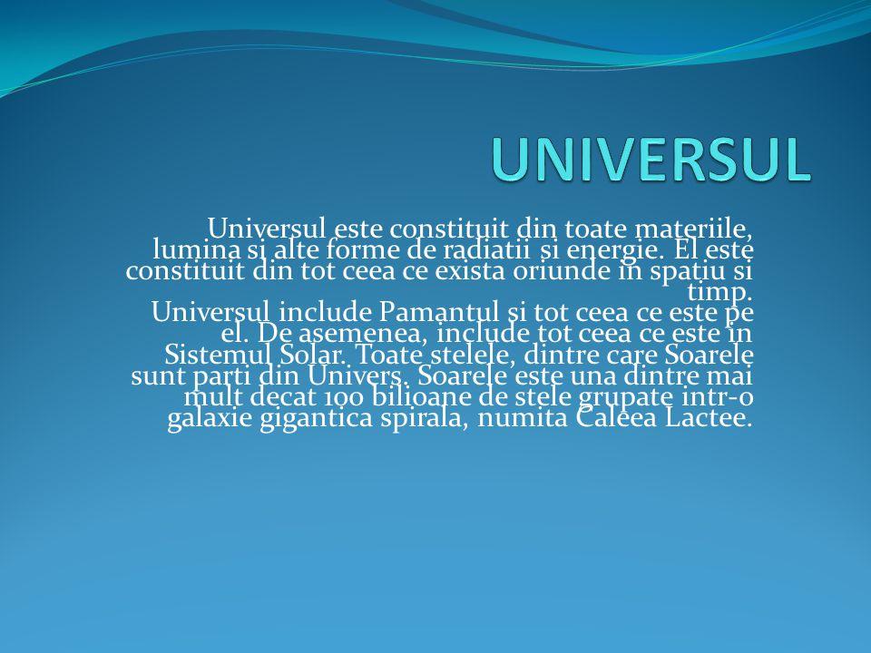 Universul este constituit din toate materiile, lumina si alte forme de radiatii si energie. El este constituit din tot ceea ce exista oriunde in spati