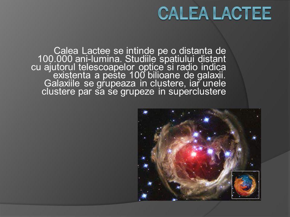 Calea Lactee se intinde pe o distanta de 100.000 ani-lumina. Studiile spatiului distant cu ajutorul telescoapelor optice si radio indica existenta a p