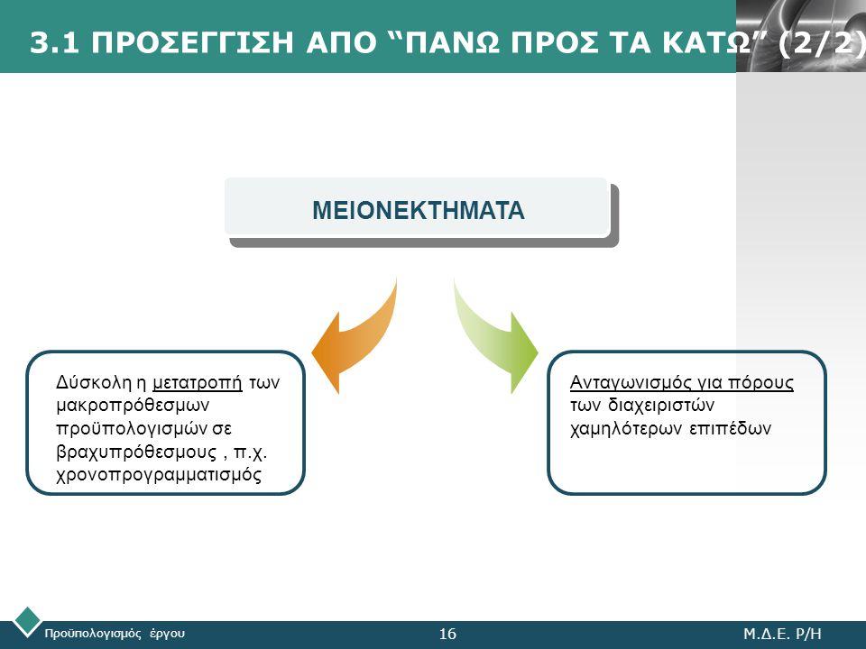 """LOGO 3.1 ΠΡΟΣΕΓΓΙΣΗ ΑΠΟ """"ΠΑΝΩ ΠΡΟΣ ΤΑ ΚΑΤΩ"""" (2/2) Προϋπολογισμός έργου Μ.Δ.Ε. Ρ/Η16 Ανταγωνισμός για πόρους των διαχειριστών χαμηλότερων επιπέδων ΜΕΙΟ"""