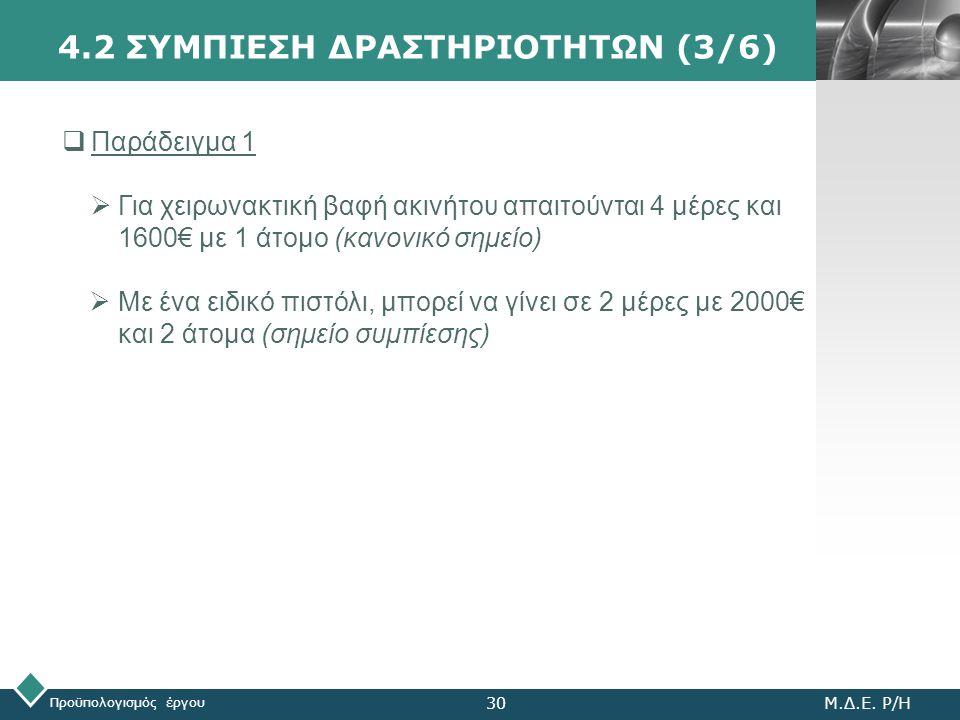 LOGO Προϋπολογισμός έργου Μ.Δ.Ε. Ρ/Η30 4.2 ΣΥΜΠΙΕΣΗ ΔΡΑΣΤΗΡΙΟΤΗΤΩΝ (3/6)  Παράδειγμα 1  Για χειρωνακτική βαφή ακινήτου απαιτούνται 4 μέρες και 1600€