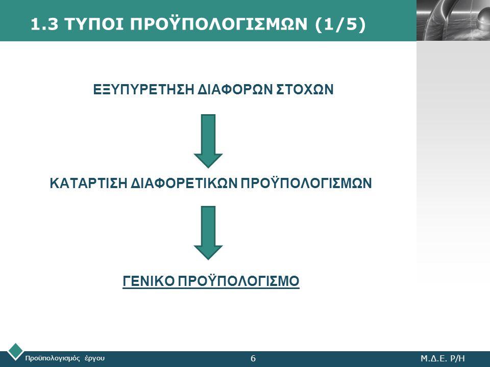 LOGO 1.3 ΤΥΠΟΙ ΠΡΟΫΠΟΛΟΓΙΣΜΩΝ (1/5) Προϋπολογισμός έργου Μ.Δ.Ε. Ρ/Η6 ΕΞΥΠΥΡΕΤΗΣΗ ΔΙΑΦΟΡΩΝ ΣΤΟΧΩΝ ΚΑΤΑΡΤΙΣΗ ΔΙΑΦΟΡΕΤΙΚΩΝ ΠΡΟΫΠΟΛΟΓΙΣΜΩΝ ΓΕΝΙΚΟ ΠΡΟΫΠΟΛΟ