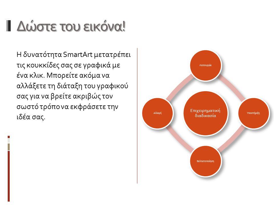 Δώστε του εικόνα! Η δυνατότητα SmartArt μετατρέπει τις κουκκίδες σας σε γραφικά με ένα κλικ. Μπορείτε ακόμα να αλλάξετε τη διάταξη του γραφικού σας γι
