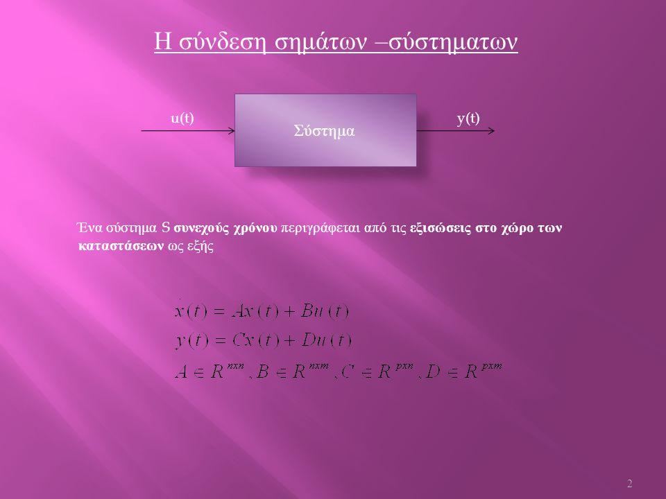 Η σύνδεση σημάτων – σύστηματων u(t) y(t) Ένα σύστημα S συνεχούς χρόνου περιγράφεται από τις εξισώσεις στο χώρο των καταστάσεων ως εξής Σύστημα 2