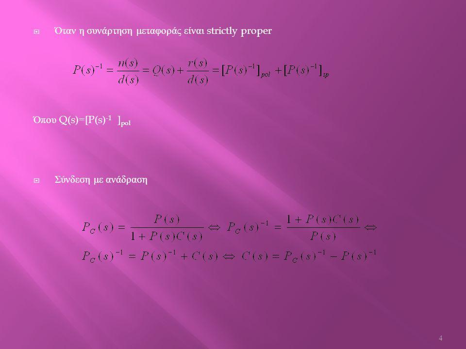 DegDC1=2*(m(1,2)-1)-1; % ο βαθμός του πολυωνύμου DC1 πρέπει να είναι μεγαλύτερος ή ίσος από 2*degQ1-1 ( ο πίνακας m είναι πίνακας γραμμή οπότε ο βαθμός του πολυωνύμου στο οποίο αντιστοιχεί θα πρέπει να είναι κατά 1 μικρότερος επειδή η τελευταία στήλη του αντιστοιχεί στο κομμάτι του πολυωνύμου του οποίου ο εκθέτης του s είναι το 0) Ορισμός συνάρτησης PC1 function [PC1]=calculationsPC1(tf,DC) % ορισμός συνάρτησης PC1 έχοντας ως δεδομένες τις συναρτήσεις tf και DC syms s % δήλωση μεταβλητής s a=solve(tf); % εύρεση των ριζών ( των μηδενικών ) της συνάρτησης μεταφοράς QW=s-a; % υπολογισμός του πίνακα με συντελεστές τη διαφορά s-a po=prod(QW); % δημιουργία πολυωνύμου πολλαπλασιάζοντας όλα τα στοιχεία του πίνακα po poo=expand(po); % υπολογισμός του γινομένου του πολυωνύμου po Q2=(tf/poo)^(-1); % διαίρεση της συνάρτησης μεταφοράς με το πολυώνυμο poo και αντιστροφή του αποτελέσματος ( στόχος όλων των παραπάνω είναι να διαχωρίσουμε τον αριθμητή με τον παρονομαστή t1=sym2poly(Q2); % μετατροπή του πολυωνύμου Q2 σε πίνακα po1=sym2poly(poo); % μετατροπή του πολυωνύμου poo σε πίνακα [z4,p4]=deconv(t1,po1); % διαίρεση των πολυωνύμων t1 και po1 έτσι ώστε να βρεθεί το πηλίκο και το υπόλοιπο της διαίρεσης ( το πηλίκο της διαίρεσης είναι το πολυωνυμικό μέρος του αντιστρόφου της συνάρτησης μεταφοράς Q1=poly2sym(z4,s); % μετατροπή του πίνακα z4 σε πίνακα έχοντας ως μεταβλητή το s QW1=s-DC; % ο QW1 είναι πίνακας με στοιχεία τη διαφορά s- DC po11=prod(QW1); % με την εντολή prod( ) γίνεται ο υπολογισμός του γινομένου όλων των στοιχείων του πίνακα QW1 poo11=expand(po11); % με την εντολή expand( ) γίνεται ο υπολογισμός του γινομένου του πολυωνύμου poo1 t11=sym2poly(Q1); % μετατροπή του πολυωνύμου Q1 σε πίνακα po111=sym2poly(poo11); % μετατροπή του πολυωνύμου poo11 σε πίνακα [z44,p44]=deconv(po111,t11); % διαίρεση των πολυωνύμων poo111 και t11 έτσι ώστε να διασπαστεί το πολυώνυμο σε pol και σε sp κομμάτια z55=poly2sym(z44,s); % μετατροπή του πίνακα z44 σε πολυώνυμο με μεταβλητή το s pc=poo11/z