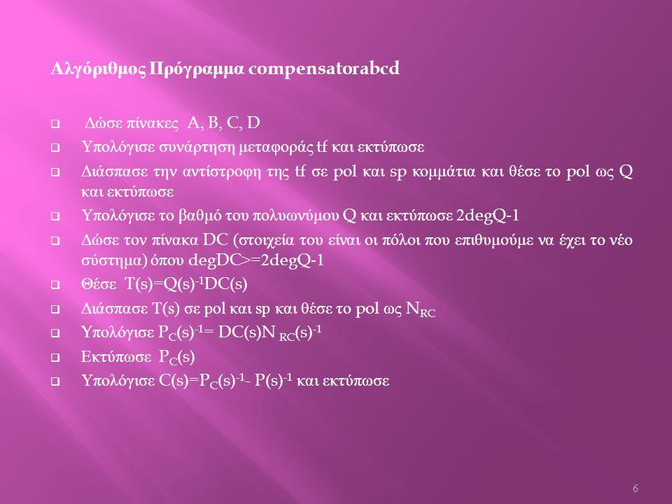Αλγόριθμος Πρόγραμμα compensator  Δώσε συνάρτηση μεταφοράς tf  Διάσπασε την αντίστροφη της tf σε pol και sp κομμάτια και θέσε το pol ως Q και εκτύπωσε  Υπολόγισε το βαθμό του πολυωνύμου Q και εκτύπωσε 2degQ-1  Δώσε τον πίνακα DC ( στοιχεία του είναι οι πόλοι που επιθυμούμε να έχει το νέο σύστημα ) όπου degDC>=2degQ-1  Θέσε T(s)=Q(s) -1 DC(s)  Διάσπασε Τ (s) σε pol και sp και θέσε το pol ως N RC  Y πολόγισε P C (s) -1 = DC(s)N RC (s) -1  Εκτύπωσε P C (s)  Υπολόγισε C(s)=P C (s) -1 - P(s) -1 και εκτύπωσε 7