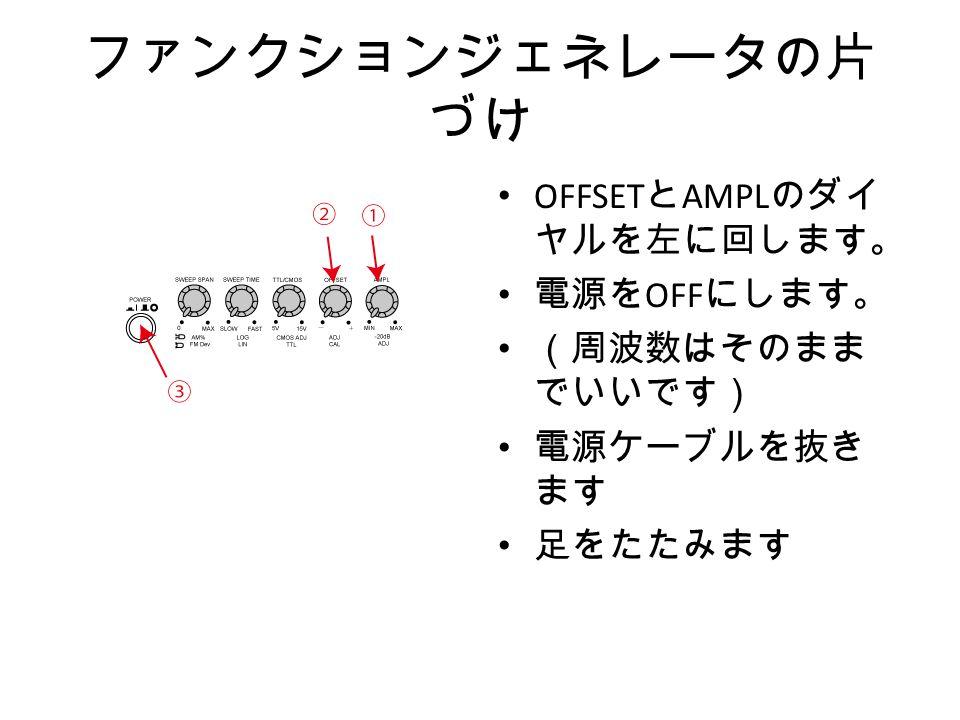ファンクションジェネレータの片 づけ OFFSET と AMPL のダイ ヤルを左に回します。 電源を OFF にします。 (周波数はそのまま でいいです) 電源ケーブルを抜き ます 足をたたみます