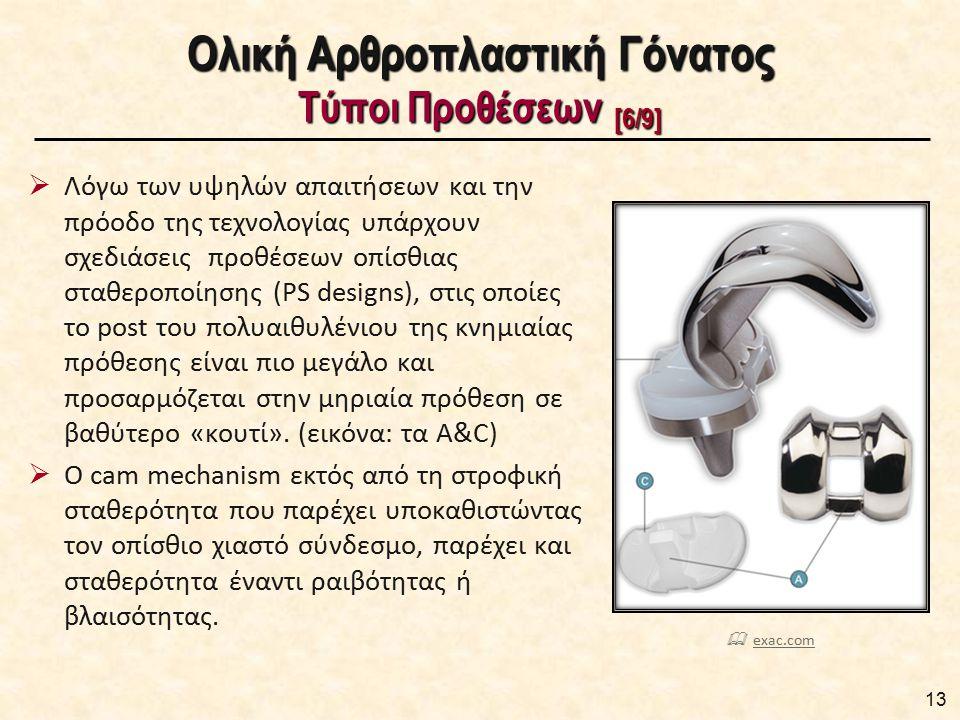 Ολική Αρθροπλαστική Γόνατος Τύποι Προθέσεων [6/9]  Λόγω των υψηλών απαιτήσεων και την πρόοδο της τεχνολογίας υπάρχουν σχεδιάσεις προθέσεων οπίσθιας σ