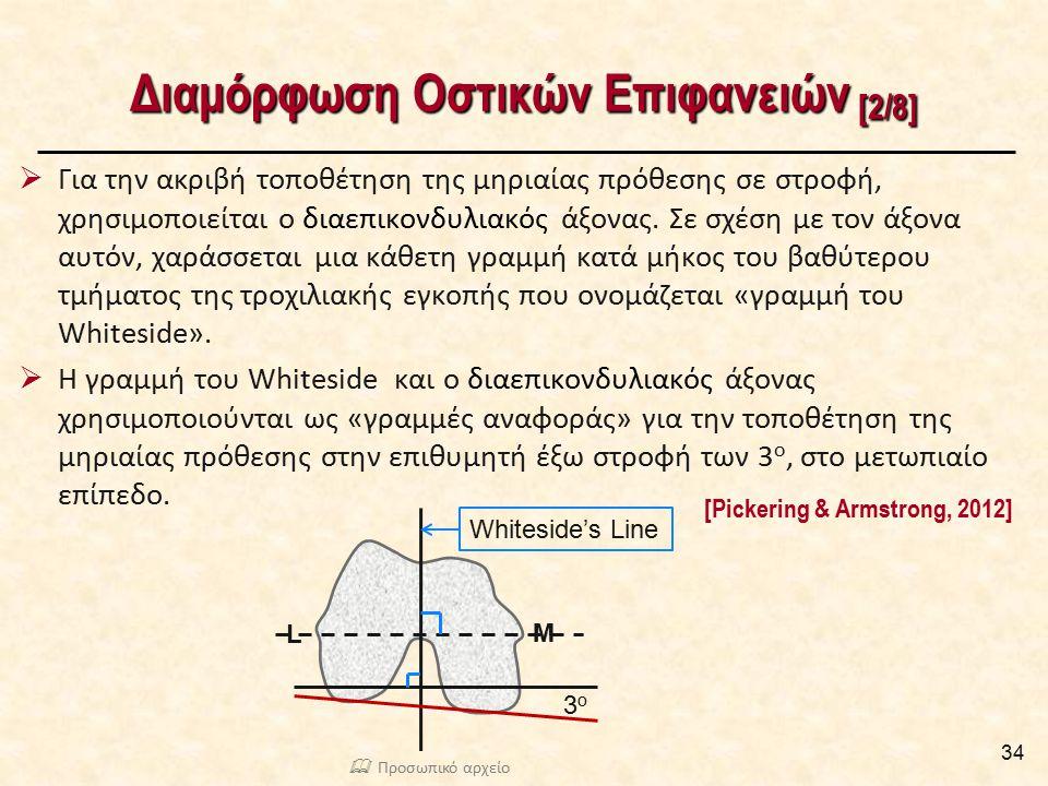 Διαμόρφωση Οστικών Επιφανειών [2/8]  Για την ακριβή τοποθέτηση της μηριαίας πρόθεσης σε στροφή, χρησιμοποιείται ο διαεπικονδυλιακός άξονας. Σε σχέση