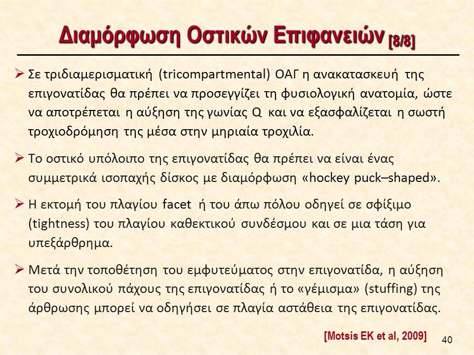 Διαμόρφωση Οστικών Επιφανειών [8/8]  Σε τριδιαμερισματική (tricompartmental) ΟΑΓ η ανακατασκευή της επιγονατίδας θα πρέπει να προσεγγίζει τη φυσιολογ