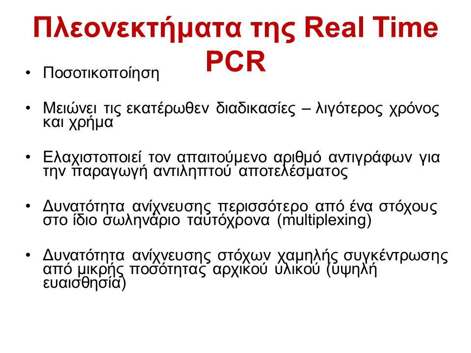Πλεονεκτήματα της Real Time PCR Ποσοτικοποίηση Μειώνει τις εκατέρωθεν διαδικασίες – λιγότερος χρόνος και χρήμα Ελαχιστοποιεί τον απαιτούμενο αριθμό αν