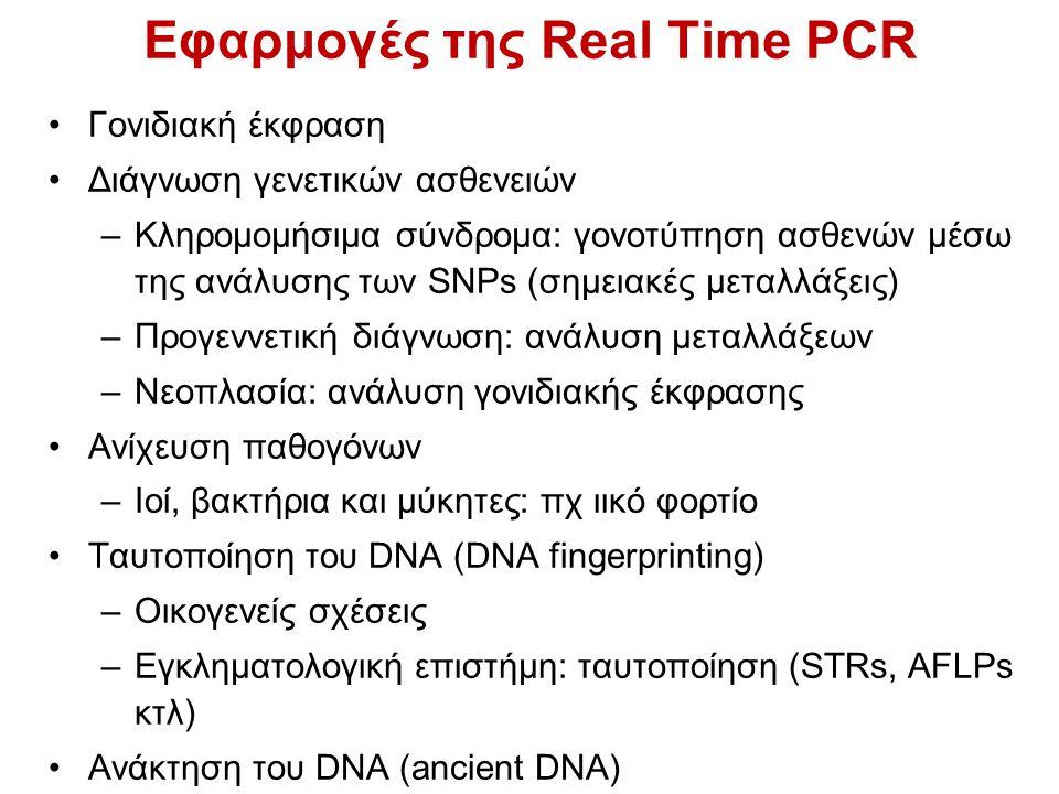 Εφαρμογές της Real Time PCR Γονιδιακή έκφραση Διάγνωση γενετικών ασθενειών –Κληρομομήσιμα σύνδρομα: γονοτύπηση ασθενών μέσω της ανάλυσης των SNPs (σημ