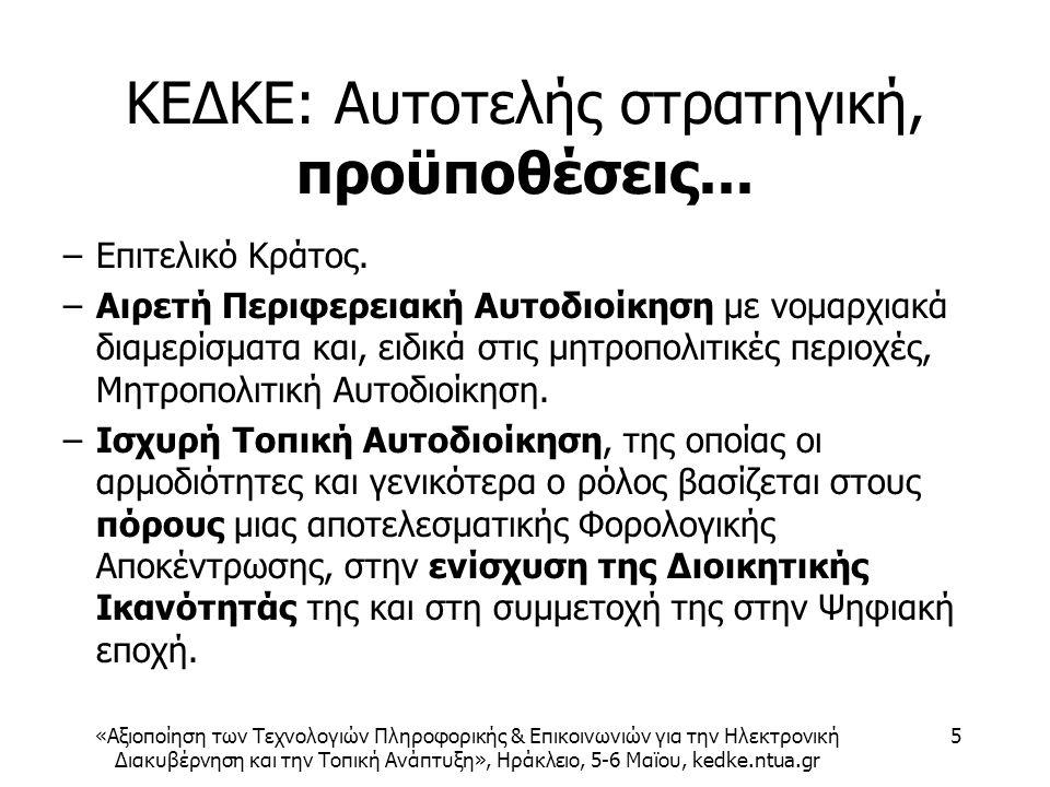 «Αξιοποίηση των Τεχνολογιών Πληροφορικής & Επικοινωνιών για την Ηλεκτρονική Διακυβέρνηση και την Τοπική Ανάπτυξη», Ηράκλειο, 5-6 Μαϊου, kedke.ntua.gr 5 ΚΕΔΚΕ: Αυτοτελής στρατηγική, προϋποθέσεις...