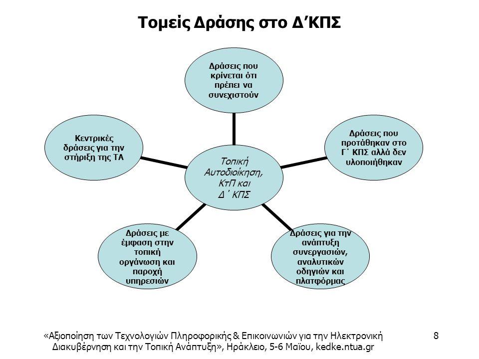 «Αξιοποίηση των Τεχνολογιών Πληροφορικής & Επικοινωνιών για την Ηλεκτρονική Διακυβέρνηση και την Τοπική Ανάπτυξη», Ηράκλειο, 5-6 Μαϊου, kedke.ntua.gr 8 Τομείς Δράσης στο Δ'ΚΠΣ Τοπική Αυτοδιοίκηση, ΚτΠ και Δ΄ ΚΠΣ Δράσεις που κρίνεται ότι πρέπει να συνεχιστούν Δράσεις που προτάθηκαν στο Γ΄ ΚΠΣ αλλά δεν υλοποιήθηκαν Δράσεις για την ανάπτυξη συνεργασιών, αναλυτικών οδηγιών και πλατφόρμας Δράσεις με έμφαση στην τοπική οργάνωση και παροχή υπηρεσιών Κεντρικές δράσεις για την στήριξη της ΤΑ