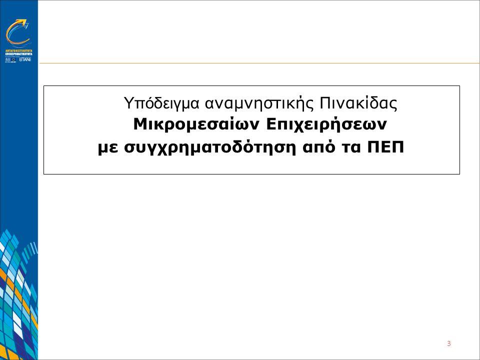 4 Αναμνηστική Πινακίδα Πράξεων κρατικών ενισχύσεων Μικρομεσαίων Επιχειρήσεων με εκχώρηση πόρων στην ΕΥΔ ΕΠΑ ν Ε Κ από Περιφερειακό Επιχειρησιακό Πρόγραμμα (ΠΕΠ) Η επιχείρηση ενισχύθηκε στο πλαίσιο του Περιφερειακού Επιχειρησιακού Προγράμματος ………….